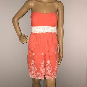 Orange/peach strapless sundress